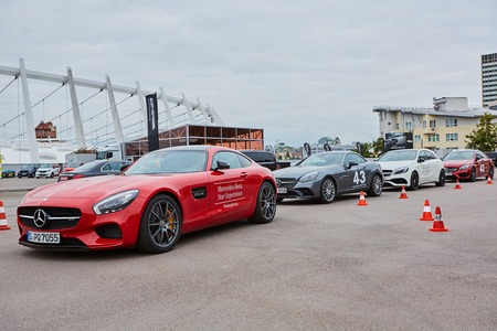 Kiev, Ukraine - OCTOBER 4, 2016: Mercedes Benz star experience. The interesting series of test drives. Presentation the new 43 series by Mercedes-AMG Editorial