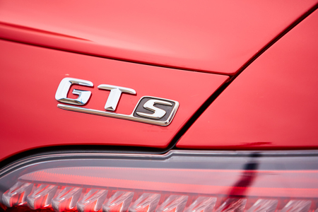 tail light: Kiev, Ukraine - OCTOBER 4, 2016: Mercedes Benz star experience. The interesting series of test drives. The logo GTs and the tail light closeup.