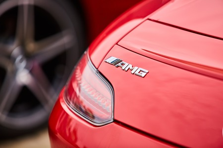 tail light: Kiev, Ukraine - OCTOBER 4, 2016: Mercedes Benz star experience. The interesting series of test drives. The logo AMG and the tail light closeup
