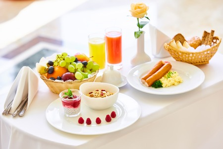 delicious breakfast for two at the luxury hotel.