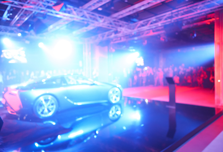 Blurred defocused image of car presentation Stock Photo