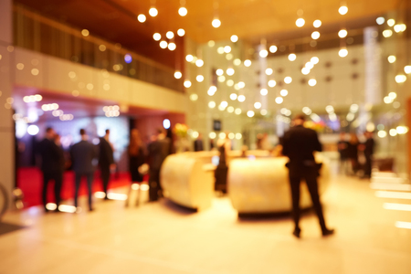 Abstract blurred people in press conference event, business concept Archivio Fotografico