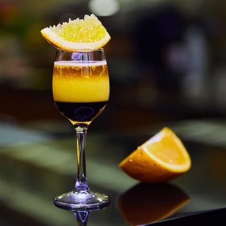 slammer: famous short cocktail compilation in bar. Shallow dof