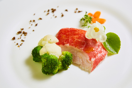 The red snapper with vegetable. Shallow dof Stock Photo