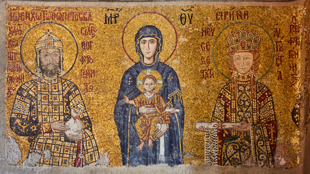 Mosaic of Virgin Mary and Jesus Christ and other Saints in the Hagia Sofia church, Istanbul, Turkey. Foto de archivo