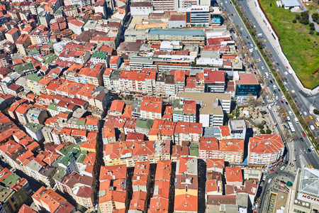 arial view: Istanbul, Turkey - 3 April, 2017: Arial view the Levent Business District. Shooting through glass