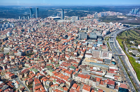 arial view: Istanbul, Turkey - 3 April, 2017: Arial view Levent Business District.