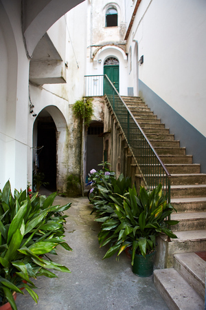 Stunning relaxation place with bench and wonderful panorama,Villa Rufolo,Ravello,Amalfi coast,Italy,Europe
