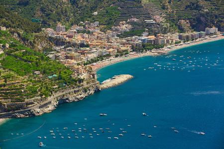High angle view of Minori and Maiori, Amalfi coast, Italy