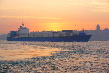 bulk: Container ship in the Bosphorus Strait. Istanbul, Turkey. Stock Photo