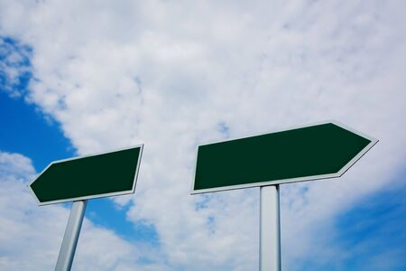 Blank signpost over blue sky