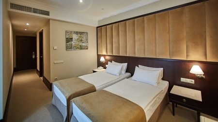 Two beds in a hotel room. Interior design 免版税图像 - 110845640