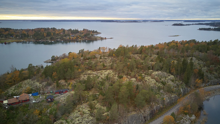 Beautiful view of the classic Swedish landscape from above.