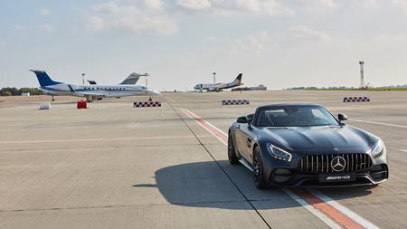 Kyiv, Ukraine - September 2, 2017: Mercedes-Benz GTs in road in airport