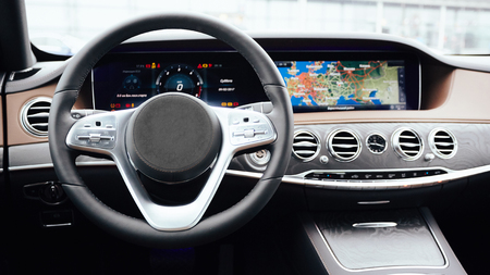The luxury modern car Interior. Shallow dof