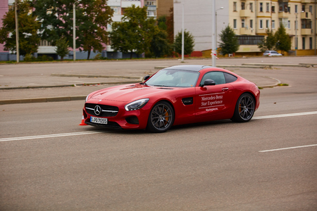 Kiev, Ukraine - OCTOBER 4, 2016: Mercedes Benz star experience. The interesting series of test drives