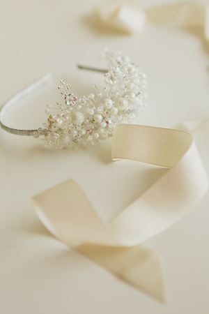 The composition of beautiful wedding accessories bride. Shallow dof Stock Photo