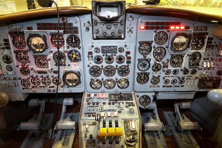 Control panel in a plane cockpit. Travel concept
