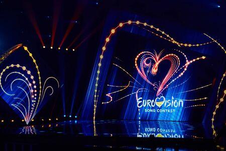 KIEV, UCRANIA - 23 DE FEBRERO DE 2019: Logotipo de la selección nacional de Eurovisión 2019 durante Eurovisión 2019