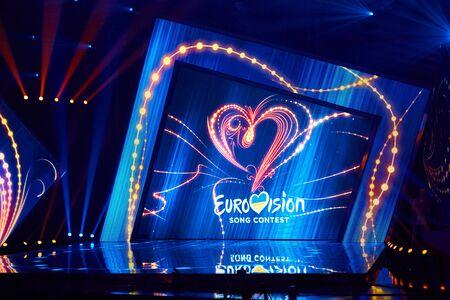 KYIV, UKRAINE - FEBRUARY 23, 2019: Logo Eurovision 2019 national selection during the Eurovision 2019