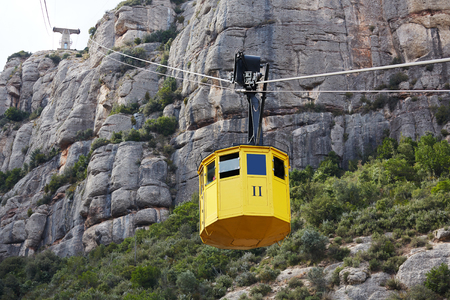 Cableway, Montserrat monastery on mountain in Barcelona, Catalon.