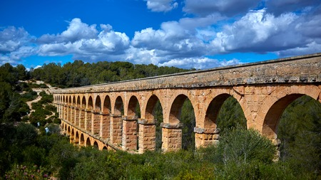 The Ferreres Aqueduct, also Pont del Diable or Devil Bridge, an ancient bridge, part of the Roman aqueduct built to supply water to the ancient city of Tarraco, today Tarragona in Catalonia, Spain.