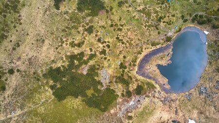 Lake in mountains. Nesamovite lake on the Chernohora mountain ridge in Carpathian mountains, Ukraine.