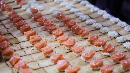 Norwegian Smoked Salmon Canapes with Cream Cheese Stockfoto