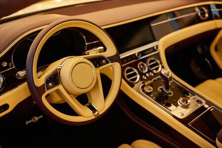Luxury car interior details. Shallow DOF selective focus. 스톡 콘텐츠