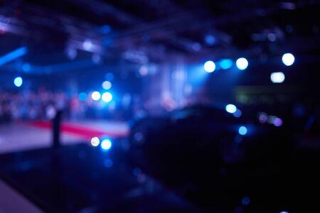 The blurred defocused image of car presentation Stok Fotoğraf