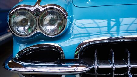 Detail of classic car. Close-up of headlight