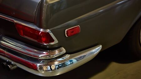 Closeup of the tail lights of a classic.