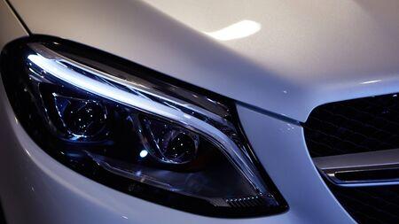 Close up headlights of car. Shallow dof.