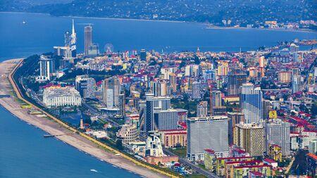 Batumi, Georgia - June 09, 2015: Aerial view of seaside city on Black Sea coast, Batumi, Georgia. Zdjęcie Seryjne