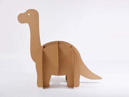 Dinosaur Brontosaurus made of cardboard. Idea for the birthday party, dino party or photo session