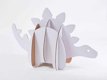 Dinosaur Stegosaurus made of cardboard. Idea for the birthday party, dino party or photo session. Stok Fotoğraf