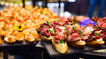 The Gourmet beef fillet canapes. Shallow dof