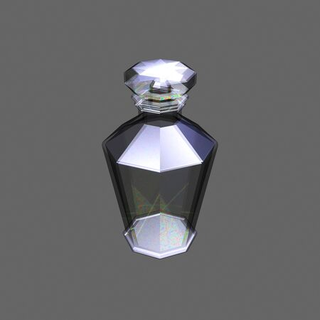 decanter: Glass decanter on a grey background 3D image.