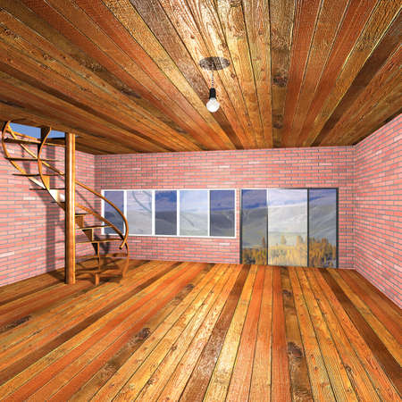 input output: Interior of the rural house. 3D image.