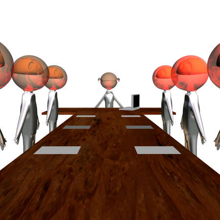 Meeting at the boss, image on white background. Stock Photo - 2775459