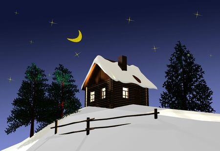 The wooden house on a background of the night sky. 3D image. Stock Photo - 2848621