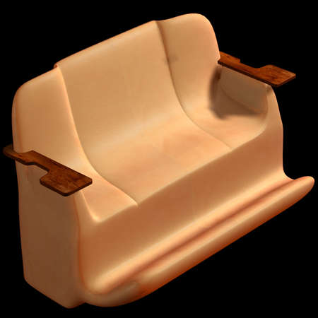 armrests: Sofa on a black background. 3D image. Stock Photo