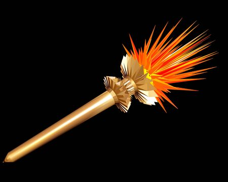 shone: Gold torch on a black background. 3D image.