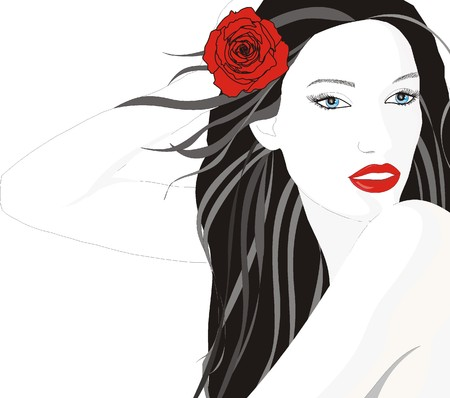 amore: ragazza con rosa tra capelli Illustration