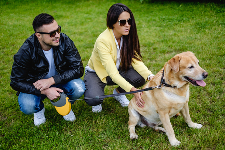 and the horizontal man: Man and woman playing with dog in the park. Horizontal Stock Photo
