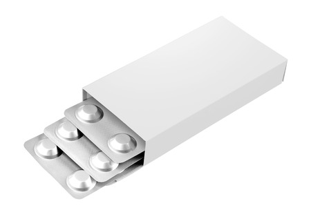 generic drugs: Open blank medicine drug box isolated