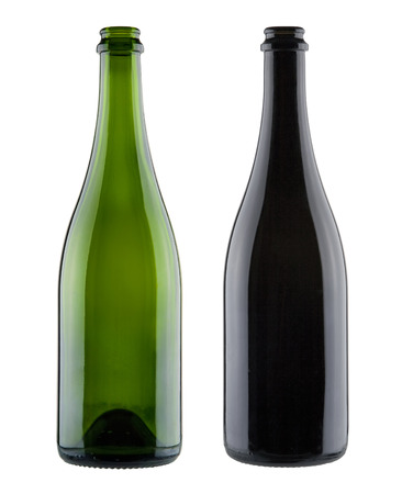 green bottle: Pair of blank champagne bottles