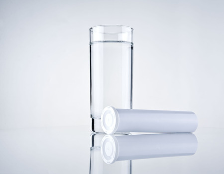 glas water: glass water and blank medicine container