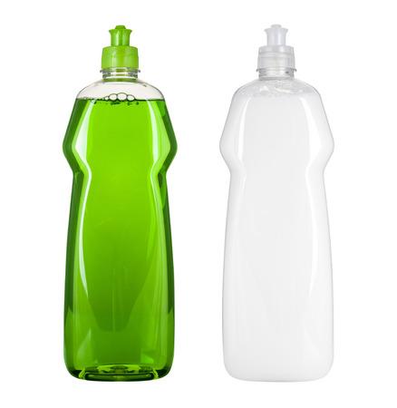 wash dishes: Paquete de líquido para lavar la vajilla en blanco Foto de archivo