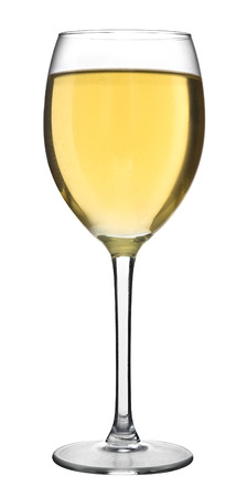 A glass filled with white wine isolated on a white background